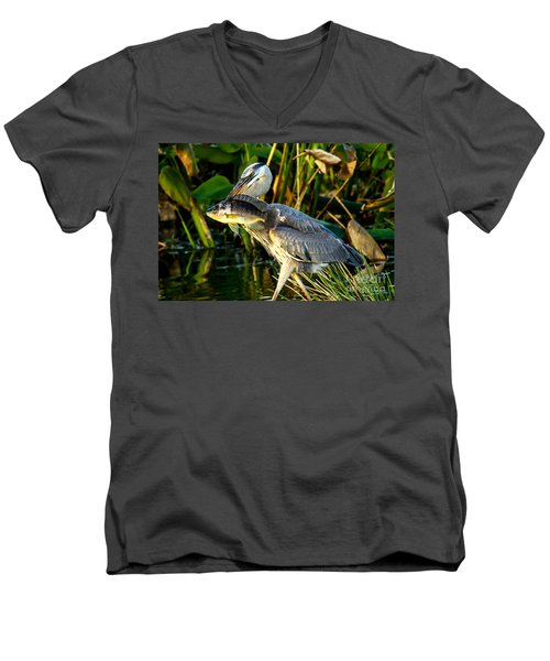 Great Blue Heron With Fish Men's V-Neck T-Shirt