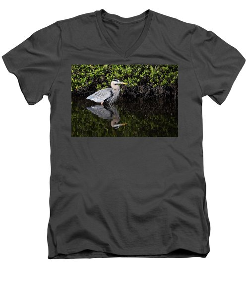 Great Blue Heron With Reflection Men's V-Neck T-Shirt