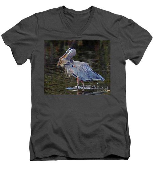 Great Blue Heron With Tilapia Men's V-Neck T-Shirt