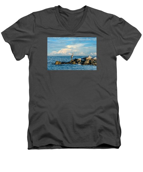 Great Blue Heron World Men's V-Neck T-Shirt