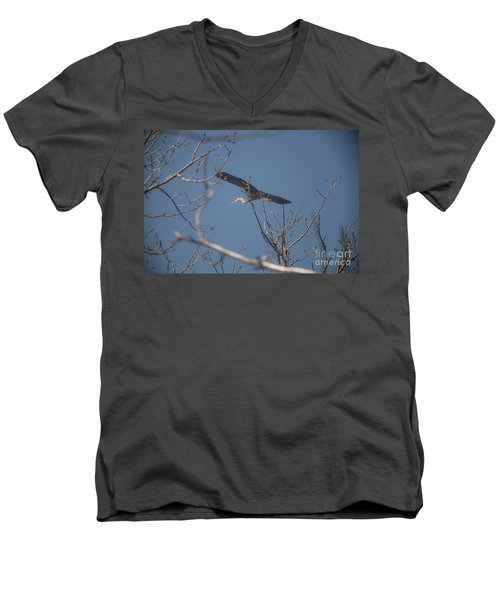 Men's V-Neck T-Shirt featuring the photograph Great Blue In Flight by David Bearden