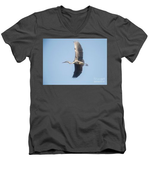 Men's V-Neck T-Shirt featuring the photograph Great Blue On Final by David Bearden