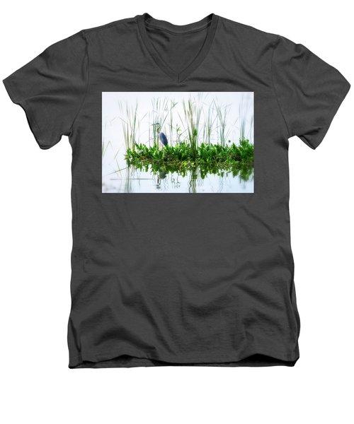 Great Blue On Green Island Men's V-Neck T-Shirt