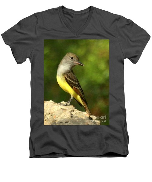 Men's V-Neck T-Shirt featuring the photograph Great Crested Flycatcher by Myrna Bradshaw