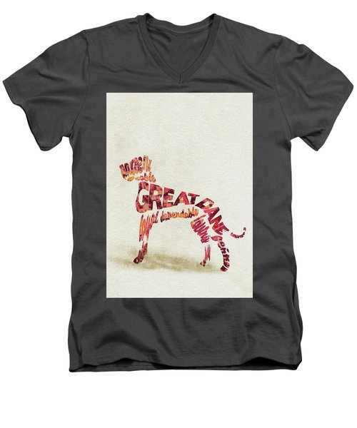 Men's V-Neck T-Shirt featuring the painting Great Dane Watercolor Painting / Typographic Art by Ayse and Deniz