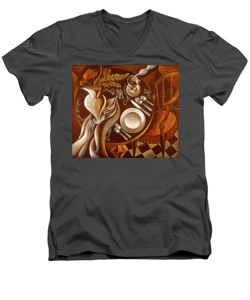 Men's V-Neck T-Shirt featuring the painting Great Dining by Leon Zernitsky