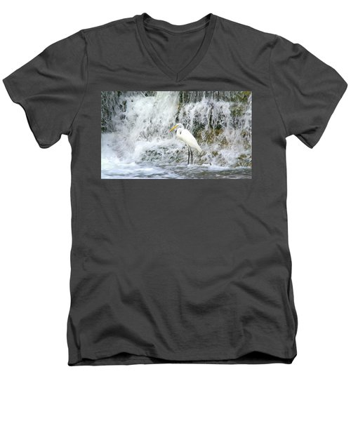 Great Egret Hunting At Waterfall - Digitalart Painting 2 Men's V-Neck T-Shirt