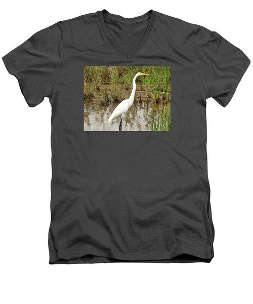 Great Egret Men's V-Neck T-Shirt by Maciek Froncisz