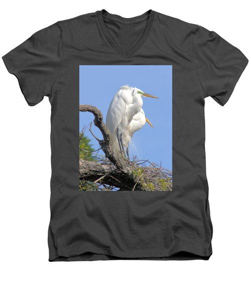 Great Egret Men's V-Neck T-Shirt by Marion Johnson