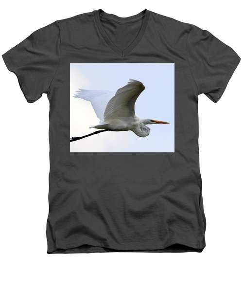 Great Egret Port Jefferson New York Men's V-Neck T-Shirt