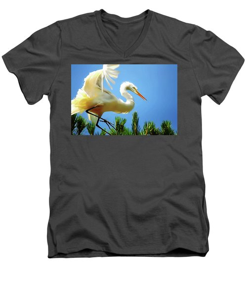 Great Egret Preparing For Treetop Landing 3 - Digitalart Men's V-Neck T-Shirt