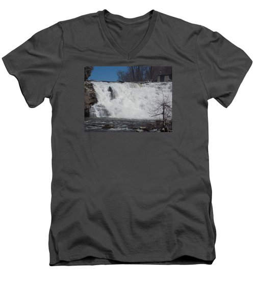 Great Falls In Canaan Men's V-Neck T-Shirt by Catherine Gagne