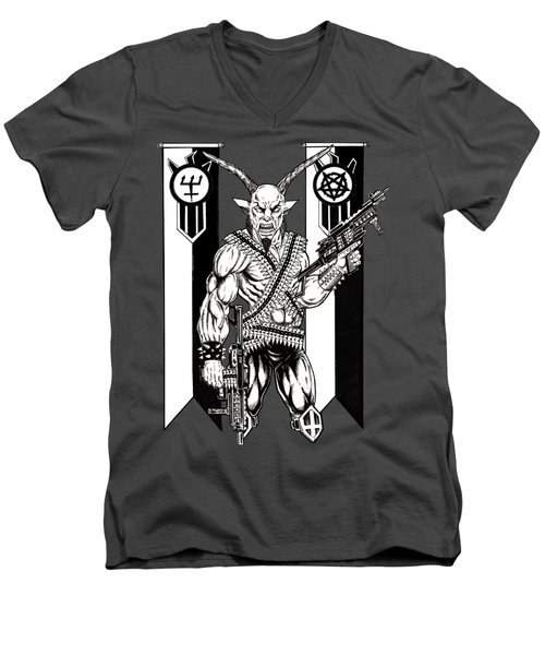 Great Goat War Men's V-Neck T-Shirt by Alaric Barca