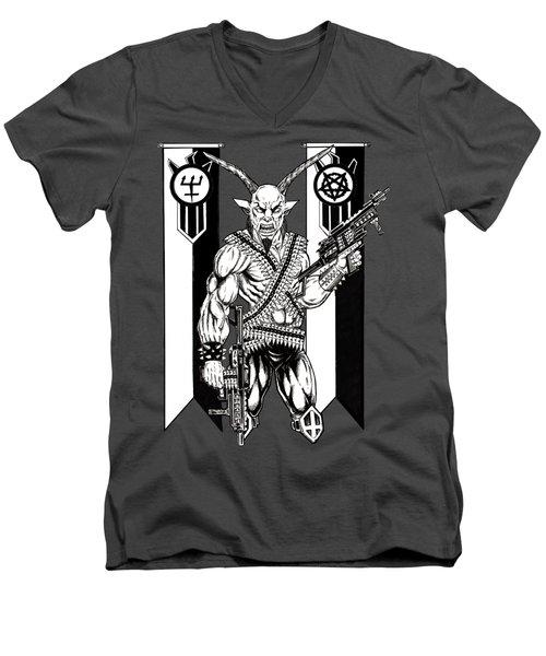 Great Goat War Men's V-Neck T-Shirt by Alaric Barca