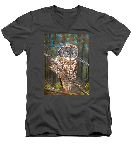 Great Grey Owl 2 Men's V-Neck T-Shirt by Sharon Duguay