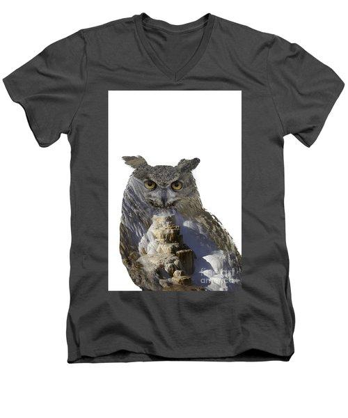 Great Horned Owl And Mammoth Hot Springs Men's V-Neck T-Shirt