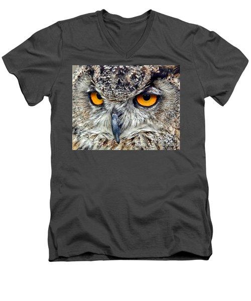 Great Horned Owl Closeup Men's V-Neck T-Shirt by Jim Fitzpatrick