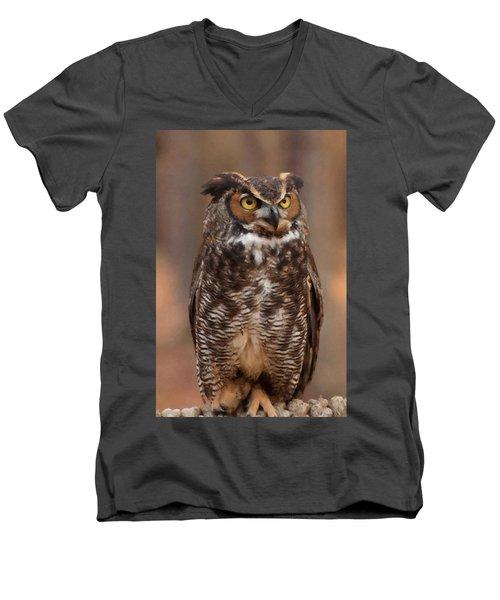 Great Horned Owl Digital Oil Men's V-Neck T-Shirt by Chris Flees