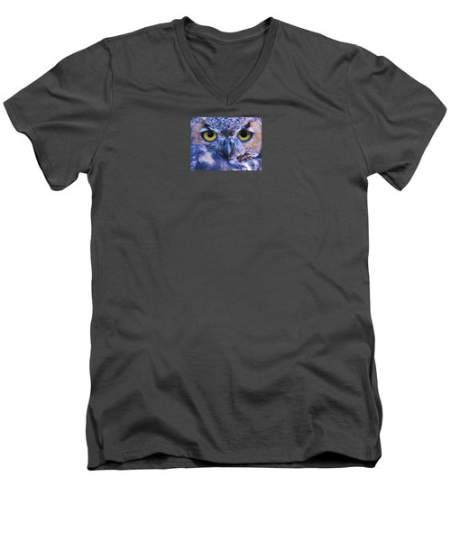 Men's V-Neck T-Shirt featuring the photograph Great Horned Owl Macro by Michele Penner