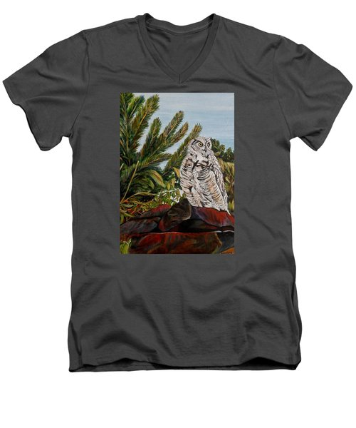 Men's V-Neck T-Shirt featuring the painting Great Horned Owl - Owl On The Rocks by Marilyn  McNish