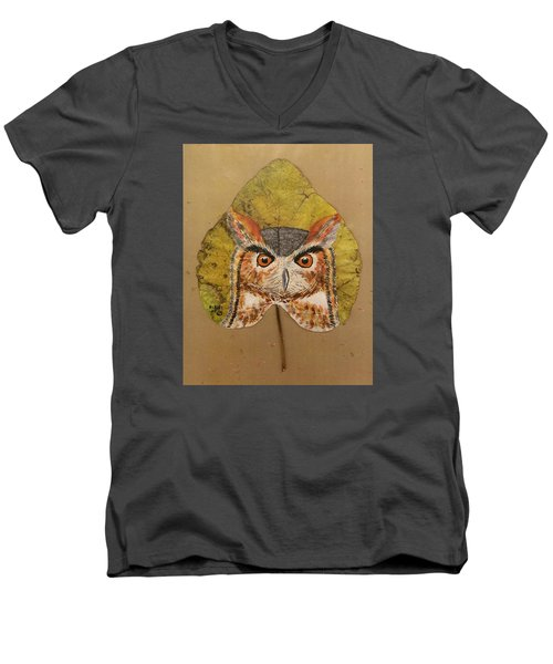 Great Horned Owl Men's V-Neck T-Shirt by Ralph Root