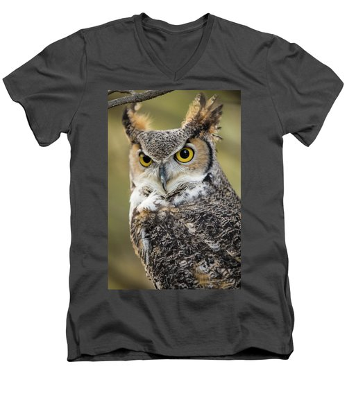 Men's V-Neck T-Shirt featuring the photograph Great Horned Owl by Wesley Aston