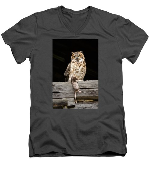 Men's V-Neck T-Shirt featuring the photograph Great Horned Owl With Dinner by Tyson and Kathy Smith