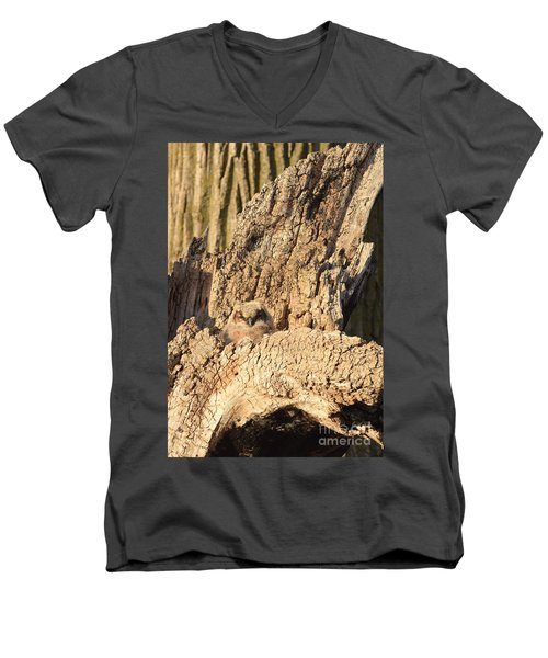 Great Horned Owlet Two Men's V-Neck T-Shirt