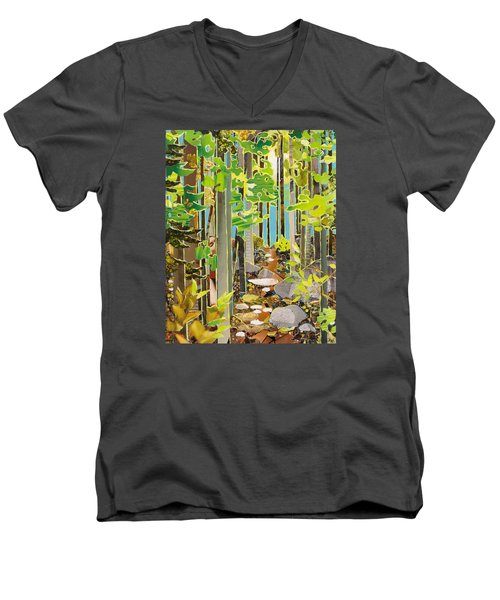 Great Maine Woods Men's V-Neck T-Shirt by Robin Birrell