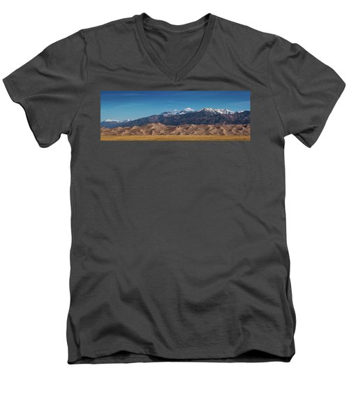Men's V-Neck T-Shirt featuring the photograph Great Sand Dunes Panorama 3to1 by Stephen Holst