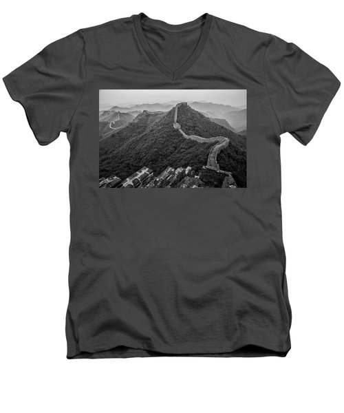 Men's V-Neck T-Shirt featuring the photograph Great Wall 2, Jinshanling, 2016 by Hitendra SINKAR