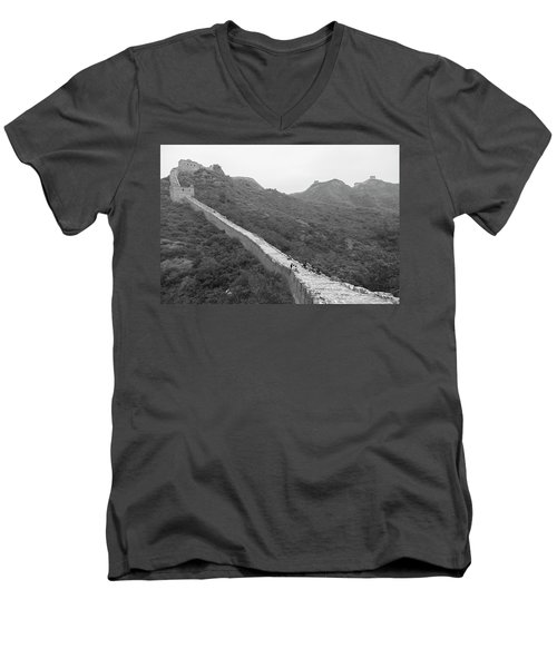 Men's V-Neck T-Shirt featuring the photograph Great Wall 4, Jinshanling, 2016 by Hitendra SINKAR