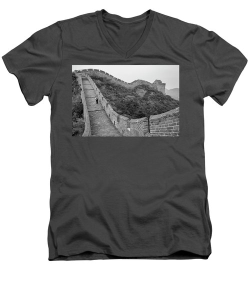 Men's V-Neck T-Shirt featuring the photograph Great Wall 9, Jinshanling, 2016 by Hitendra SINKAR