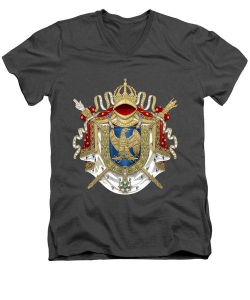 Greater Coat Of Arms Of The First French Empire Over Blue Velvet Men's V-Neck T-Shirt