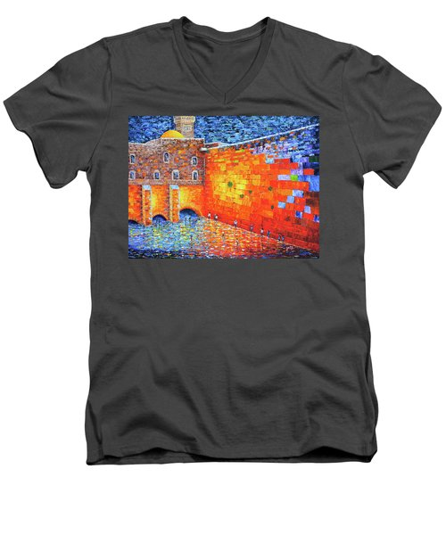 Men's V-Neck T-Shirt featuring the painting Wailing Wall Greatness In The Evening Jerusalem Palette Knife Painting by Georgeta Blanaru
