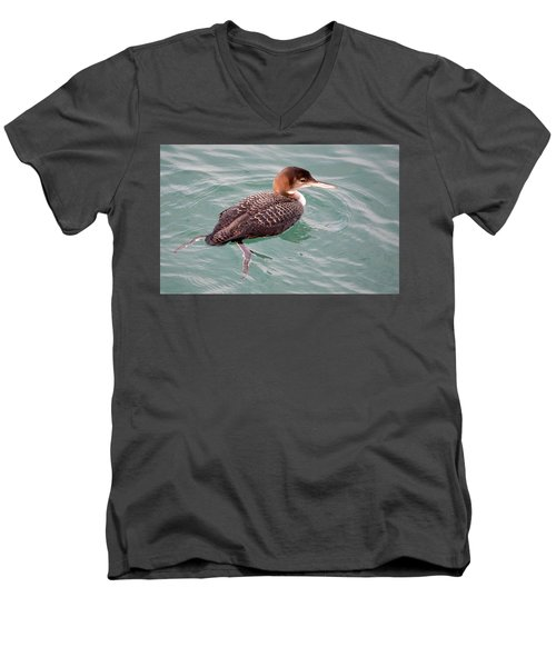 Men's V-Neck T-Shirt featuring the photograph Grebe In The Water by AJ Schibig