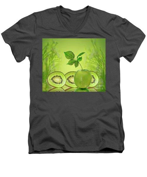 Greeeeeen Men's V-Neck T-Shirt by Shirley Mangini