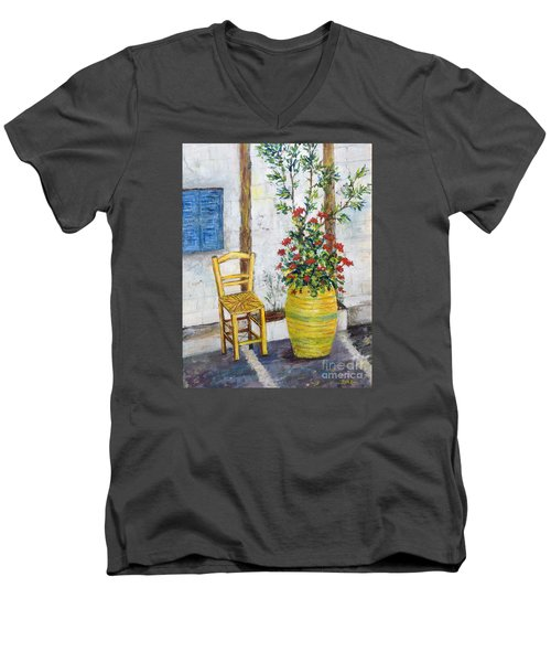 Greek Chair Men's V-Neck T-Shirt by Lou Ann Bagnall