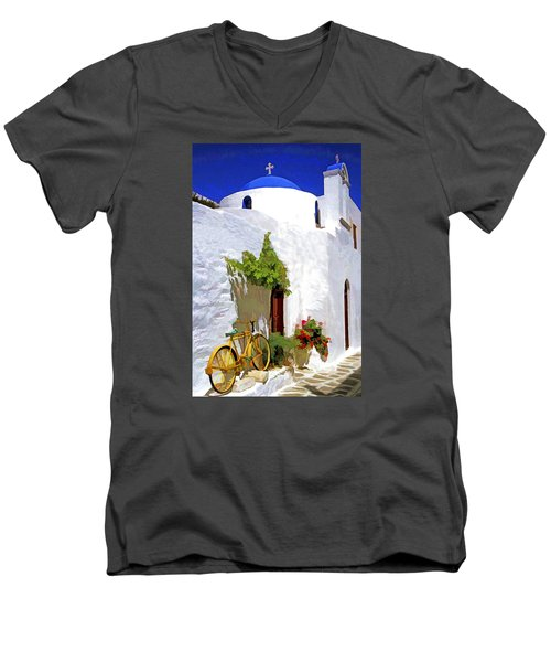 Greek Church With Bike Men's V-Neck T-Shirt by Dennis Cox WorldViews