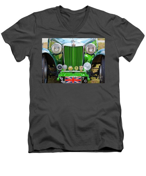 Men's V-Neck T-Shirt featuring the photograph Green 1948 Mg Tc by Chris Dutton