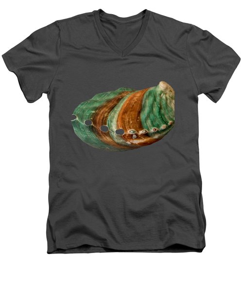 Green And Brown Shell Transparency Men's V-Neck T-Shirt