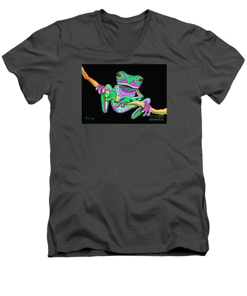 Green And Pink Frog Men's V-Neck T-Shirt