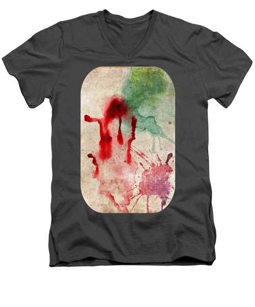 Green And Red Color Splash Men's V-Neck T-Shirt