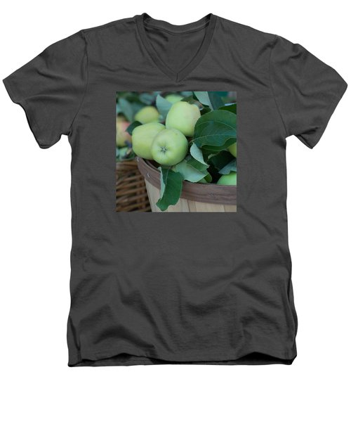 Green Apples In A Basket  Men's V-Neck T-Shirt by Michael Moriarty
