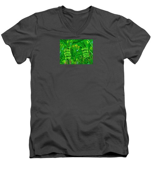 Men's V-Neck T-Shirt featuring the digital art Green Bananas by Jean Pacheco Ravinski