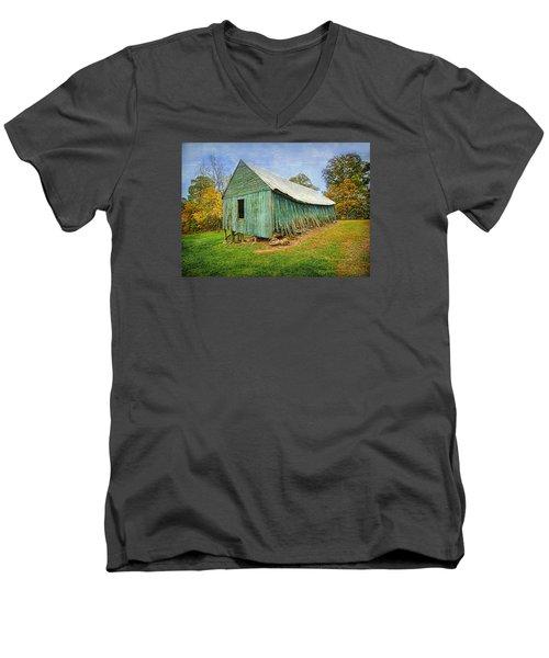 Green Barn Men's V-Neck T-Shirt by Marion Johnson