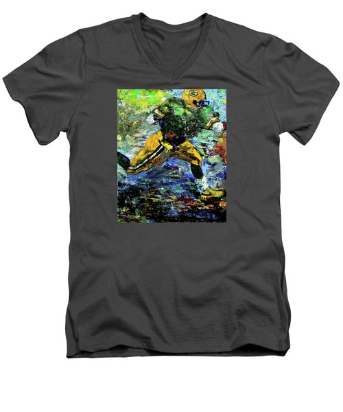 Green Bay Packers Men's V-Neck T-Shirt by Walter Fahmy