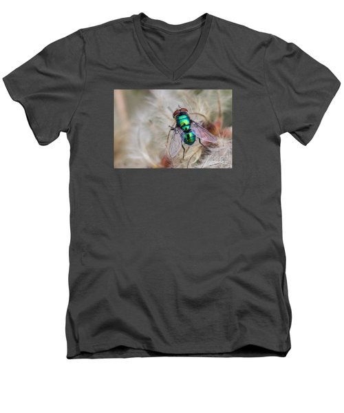 Men's V-Neck T-Shirt featuring the photograph Green Bottle Fly by Jivko Nakev