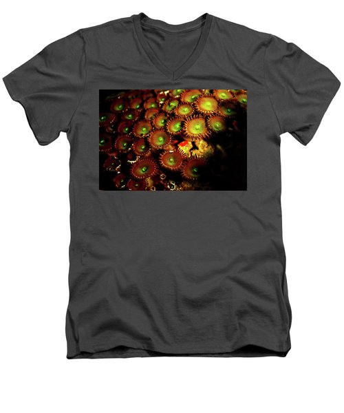 Men's V-Neck T-Shirt featuring the photograph Green Button Polyps by Anthony Jones