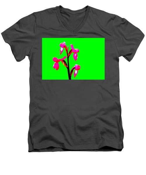 Green Champagne Orchid Men's V-Neck T-Shirt